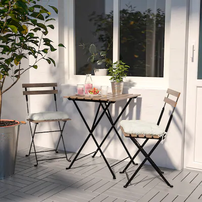 Askholmen Table 2 Chairs Outdoor Gray Gray Brown Stained Ikea In 2020 Outdoor Dining Furniture Outdoor Tables And Chairs Bistro Set