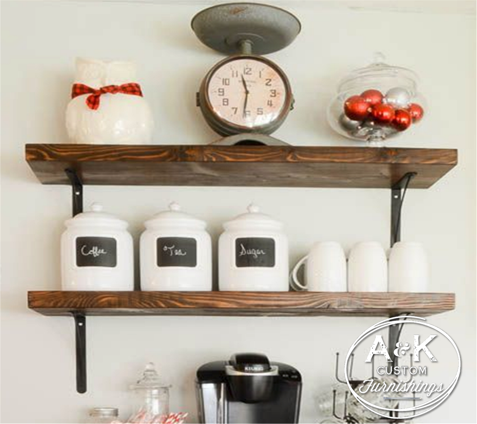 Simple rustic inspired shelving. Oil rubbed bronze brackets with ...
