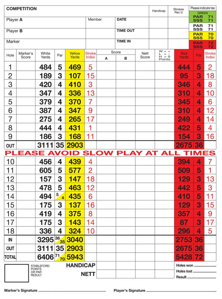 Silvermere Golf Club Score Card In Golf Score Cards Template Golf Score Golf Scorecard Card Template