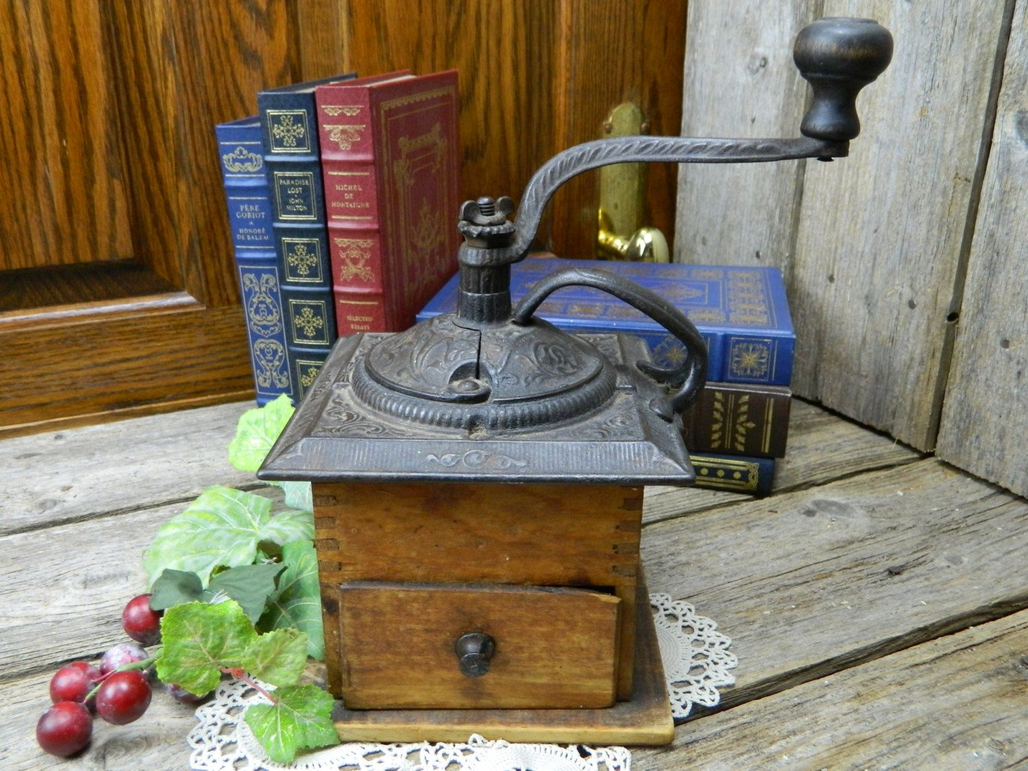 Antique Late 1800's Dovetailed Hardwood Cast Iron Coffee Grinder by allthatsvintage56 on Etsy