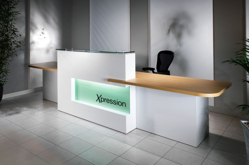 White reception desktop qualitymelamine office furniture for Design hotel reception