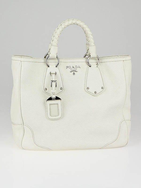 2e4f945ad8a7 Yoogi's Closet - Prada White Vitello Daino Leather Medium Shopping Tote Bag  BN1346 - Handbags