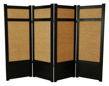 Low Jute Shoji Screen In Black W Woven Panels Asian Screens