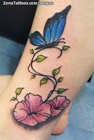Tatuaje De Flores Mariposas Tobillo Zonatattoos Com Tattoos Flower Tattoo Flowers
