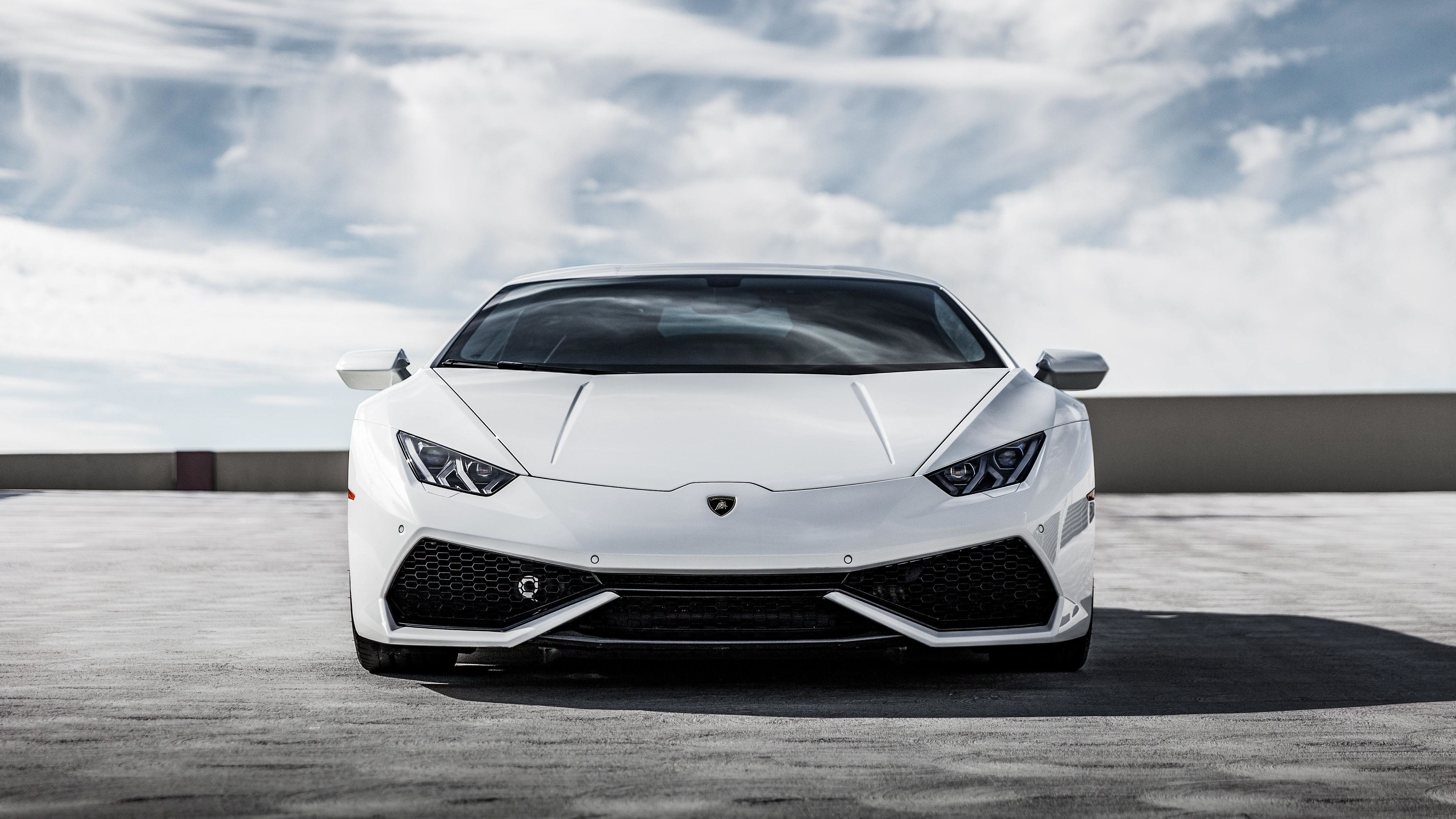 White Huracan 4k Front wallpapers