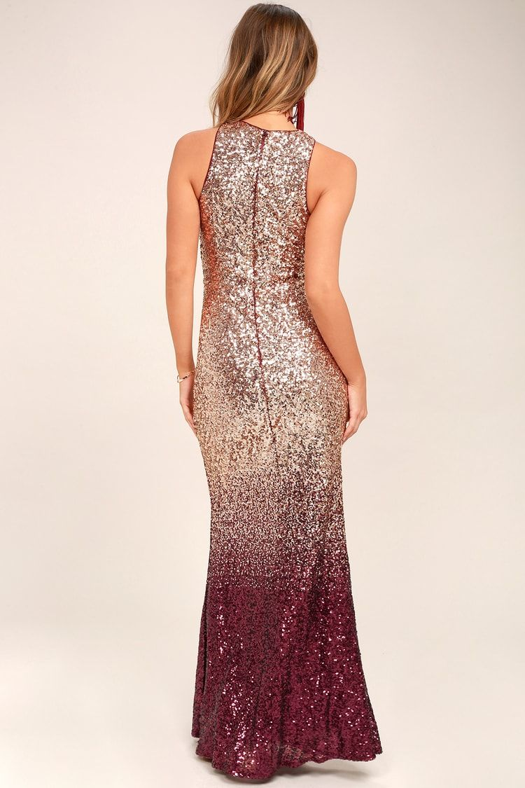 1c3d54e888a Infinite Dreams Burgundy and Rose Gold Ombre Sequin Maxi Dress in ...