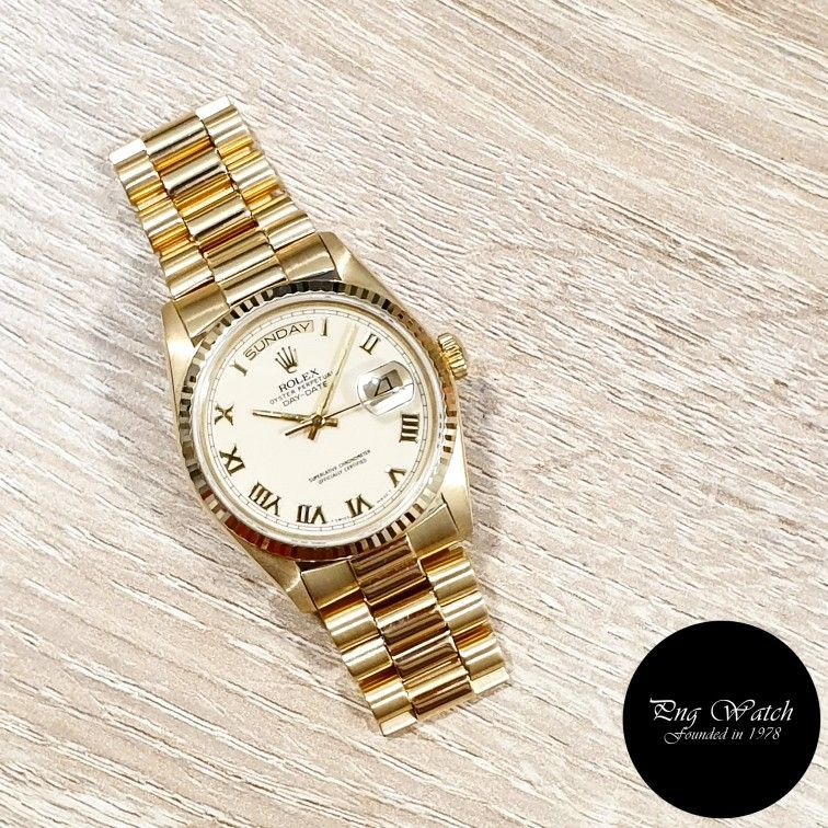 Rolex 18k Yellow Gold Cream Roman Day Date Ref 18038 2 Rolex Gold Watch Rolex Watches