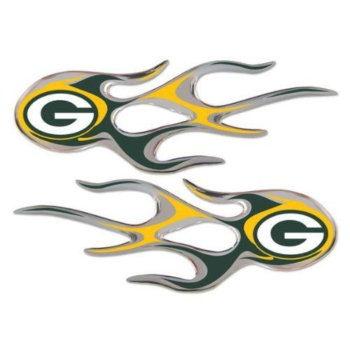Green Bay Packers NFL Micro Flames Auto Decal 2 Pack for Car Truck ...