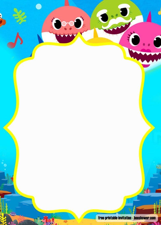 FREE Printable Baby Shark Pinkfong Birthday Invitation