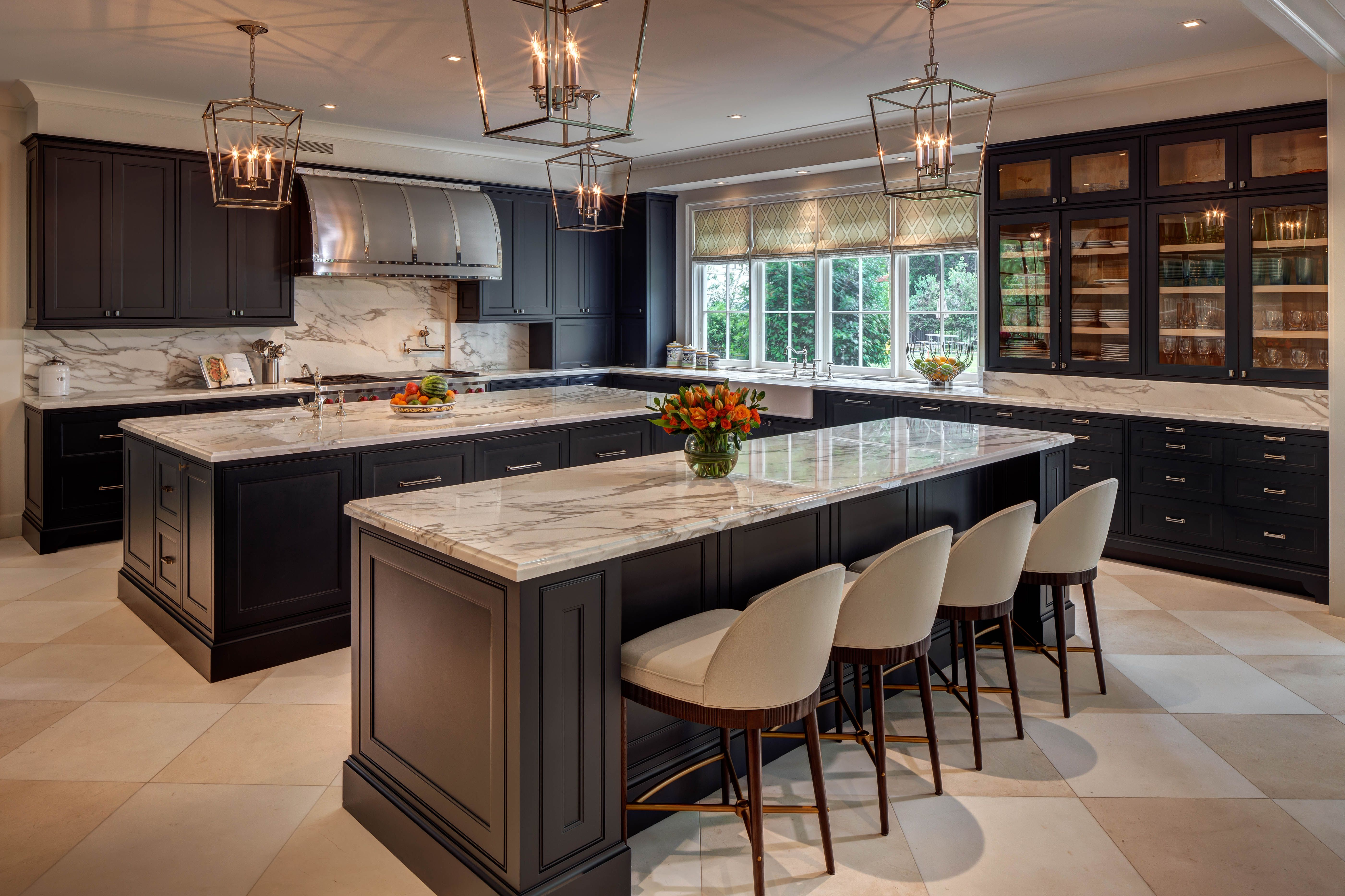 Dark Cabinets And Light Counters Bring A Fun Color Contrast To