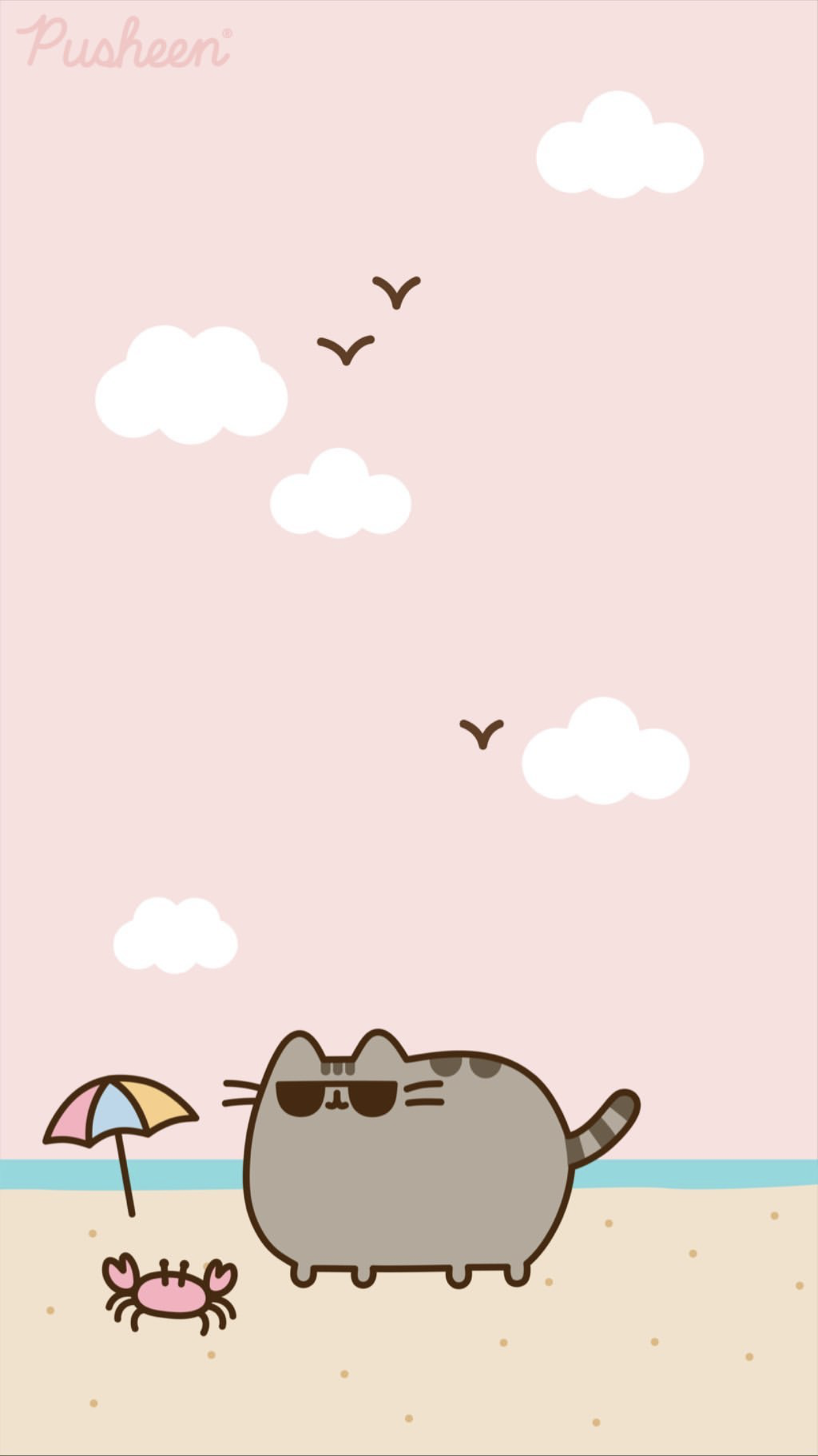 Pusheen Cat Iphone Wallpaper Summer Beach Pusheen Cute Pusheen Cat Cat Wallpaper
