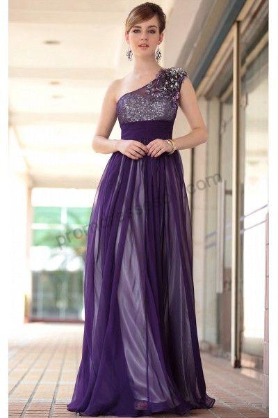 Purple One-shoulder Sequins Tencel Evening Prom Dress | Long Blue ...