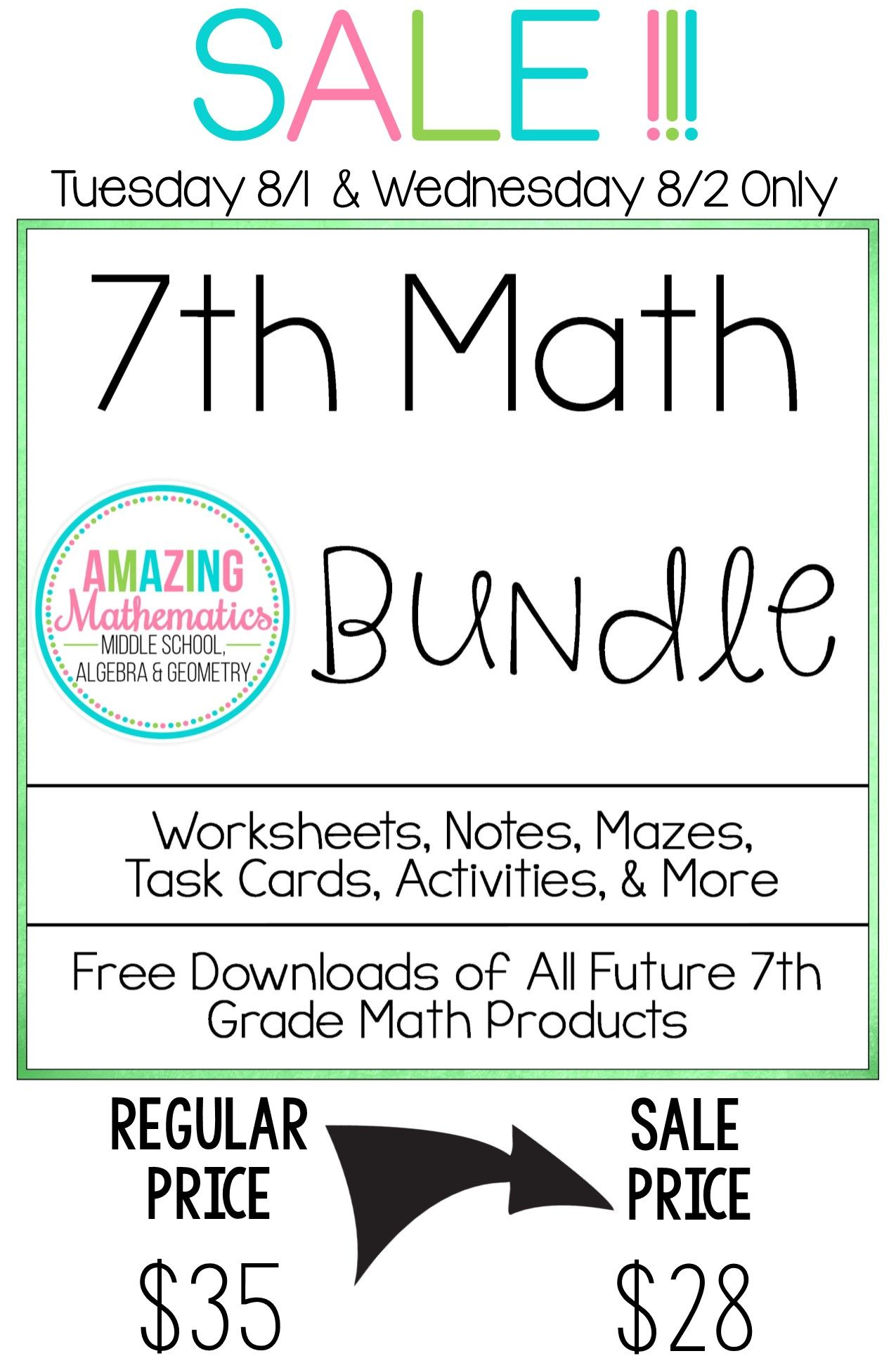 7th Grade Math Bundle All My 7th Grade Math Products At