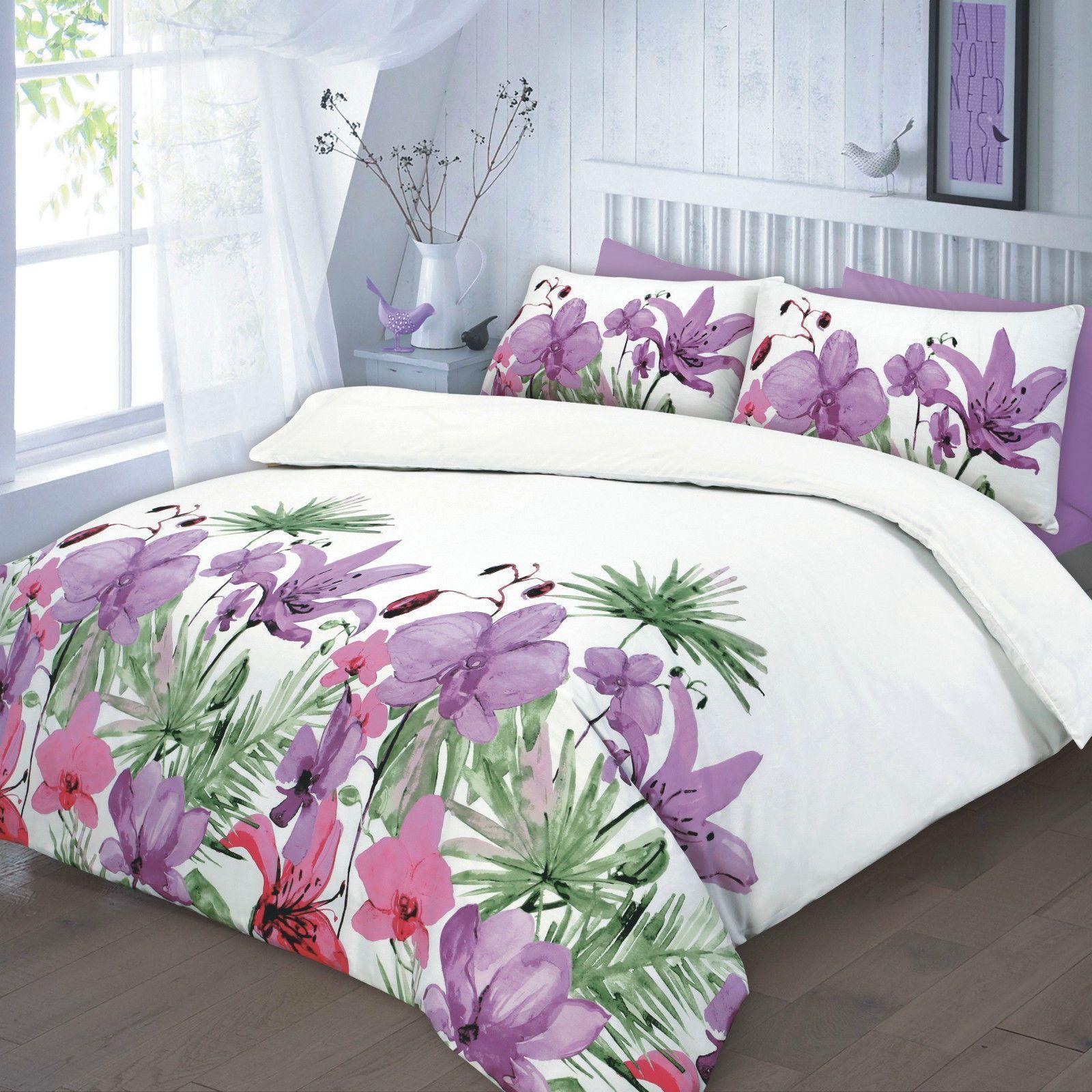 Lily Floral Duvet Quilt Bedding Set Lilac Linens Range