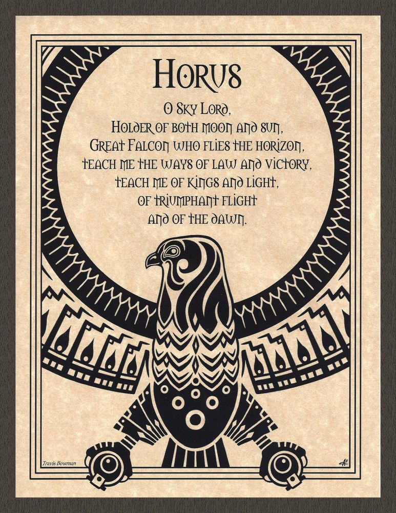 Horus Prayer Shaman Animal Spirit Poster Page Art Egyptian God Wicca