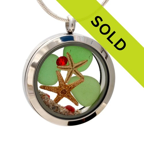 I'll Be Home For Christmas- Green Sea Glass With Starfish, Red Crystal Gems & Real Sand Locket