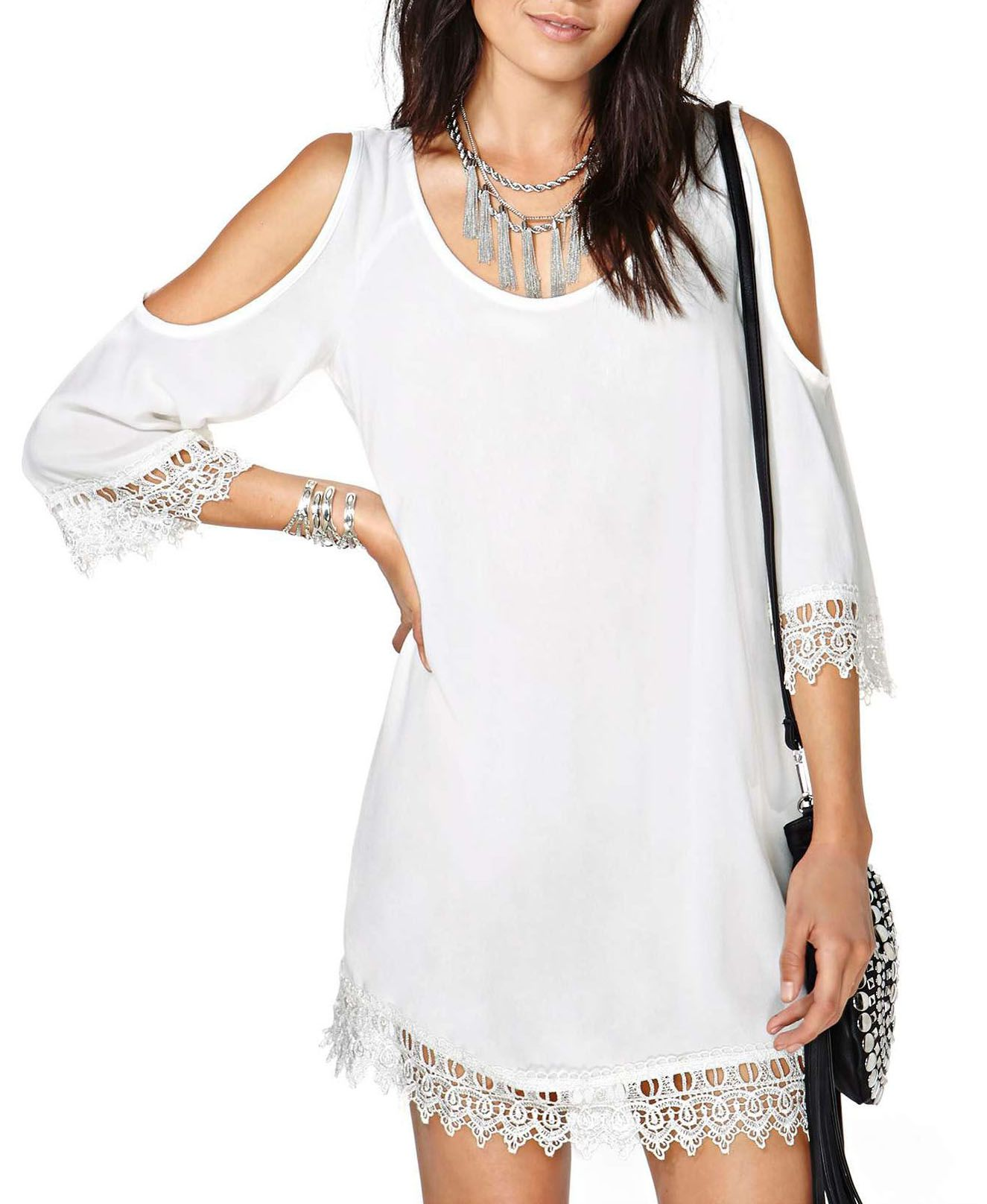 White Off-The-Shoulder Chiffon T-shirt from chicnova