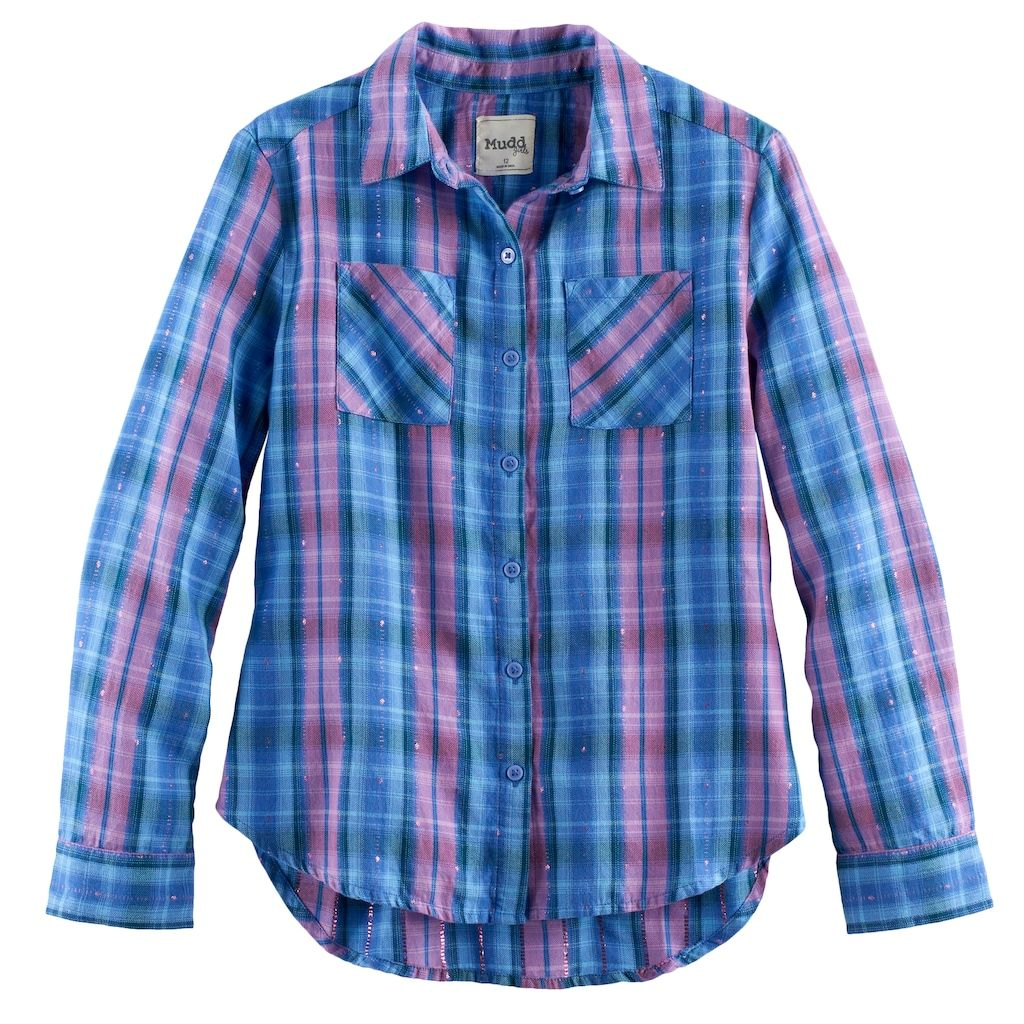 Flannel shirts at kohl's  Girls  Mudd Metallic Plaid ButtonFront Flannel Shirt Size