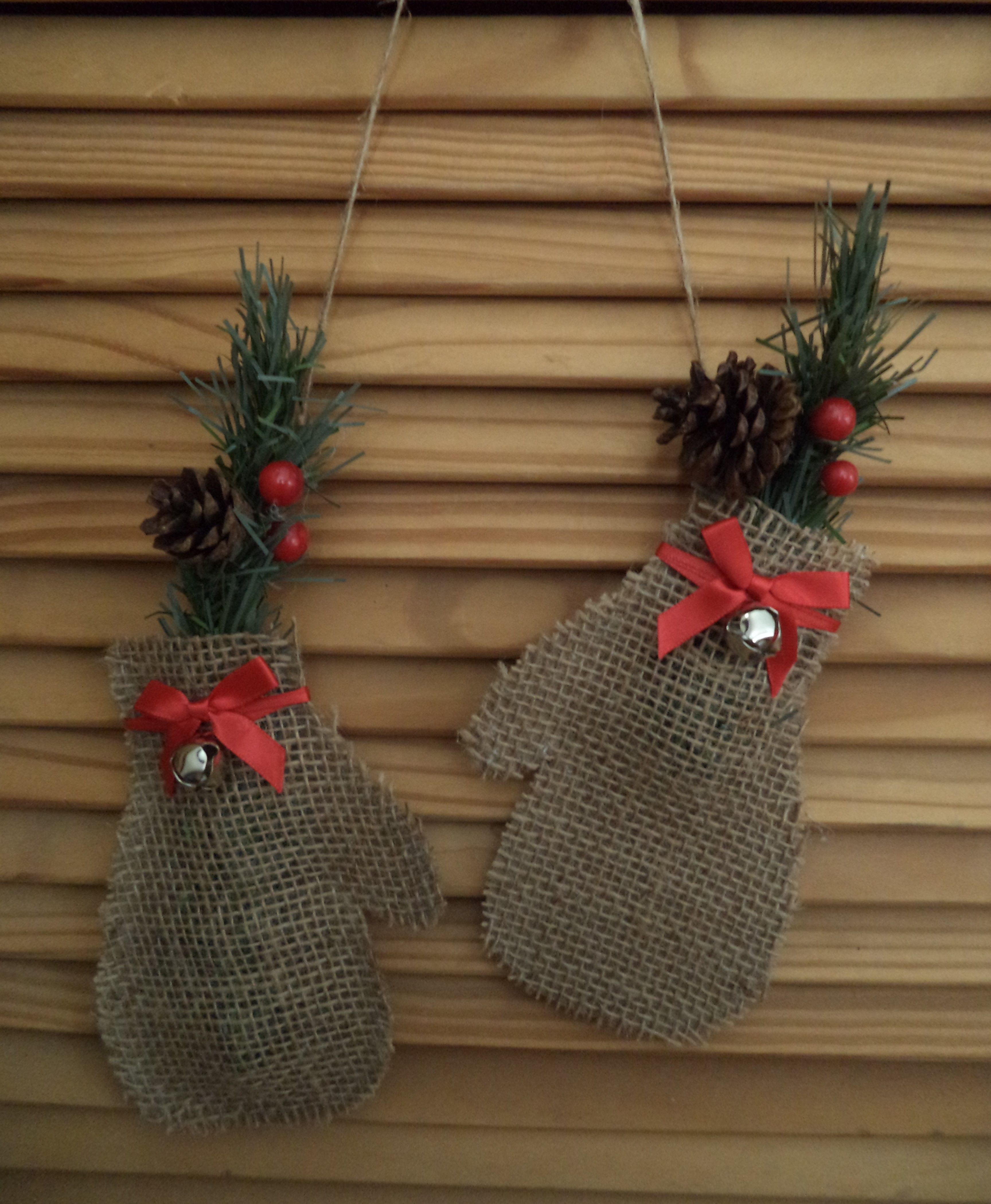 Pair Of Burlap Mittensburlap, Ribbon, Bells, Pinecones, Fake Diy Christmas