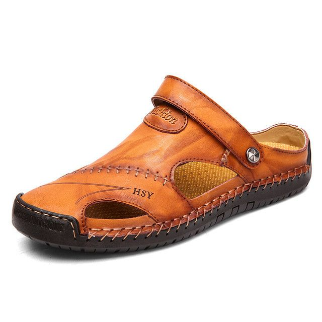 Men Large Size Casual Sandals beach Shoes | Soft leather