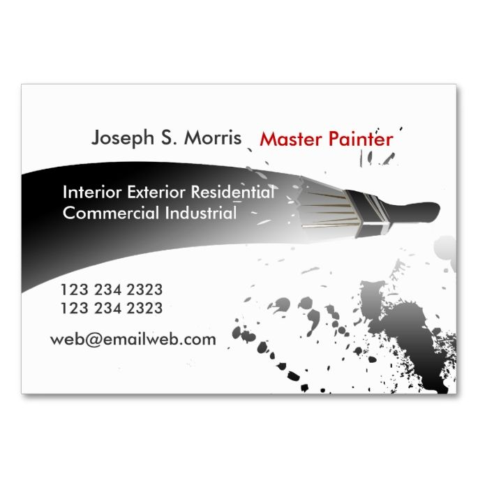 Trendy Black White Watercolor Paint House Painters Business Card Zazzle Com Painter Business Card House Painter House Painting