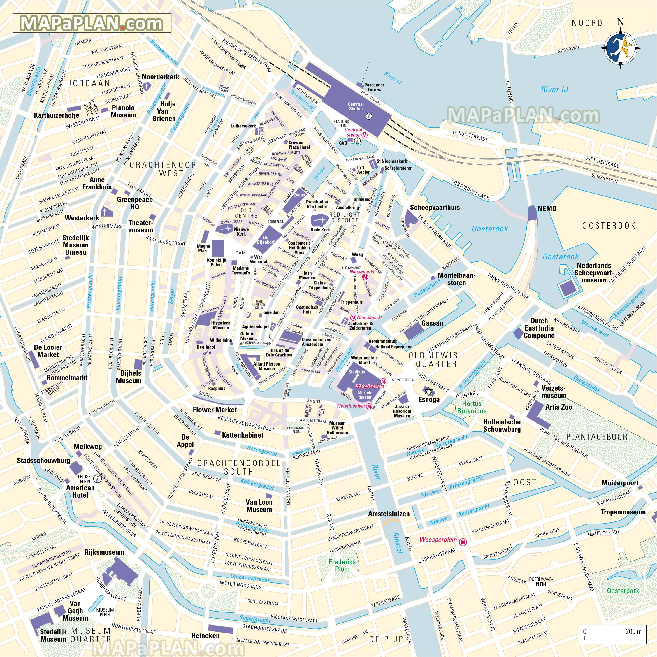 Amsterdam Top Tourist Attractions Map 09 Centrum Where To Go What To See Major Historic Points Of Interes Amsterdam Map Amsterdam Tourist Map Amsterdam Tourist