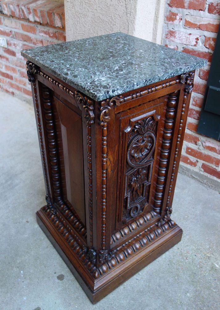 Antique French Renaissance Carved Oak Pedestal Display Bronze Stand W /  Marble Ebay.com