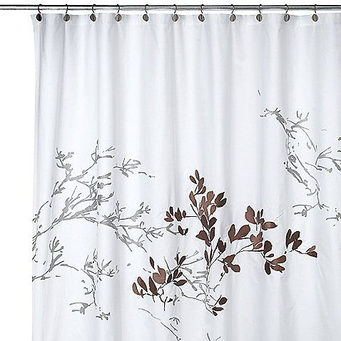 brown and gray shower curtain. This elegant shower curtain has gray branch silhouettes on a white back  with just one patch