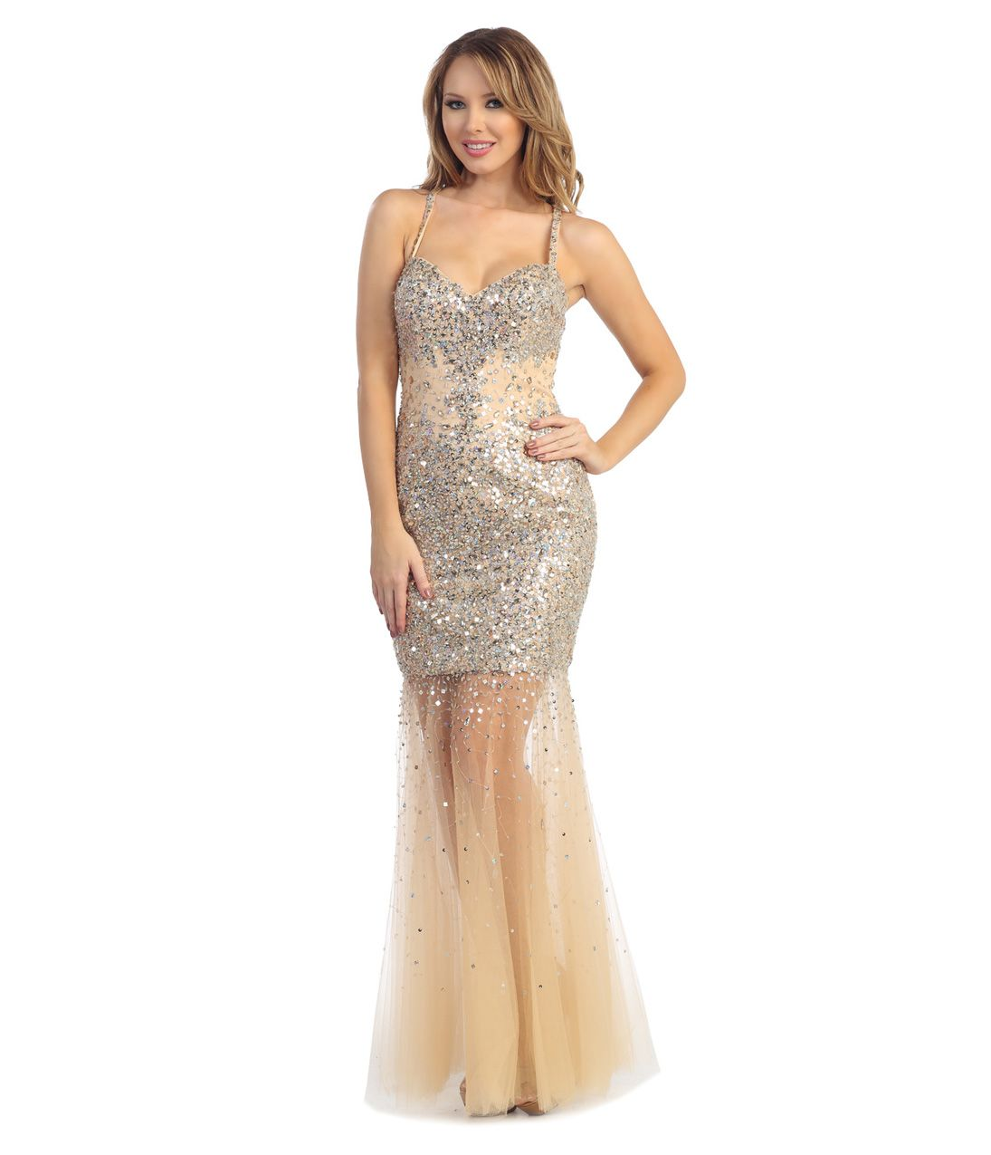 Nude sequin u tulle mermaid gown uniquevintage my prom