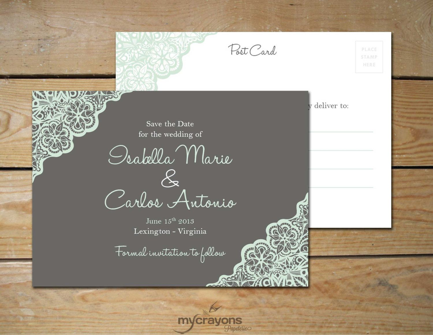 Rustic Lace Save The Date Wedding Postcard By Mycrayonspapeterie