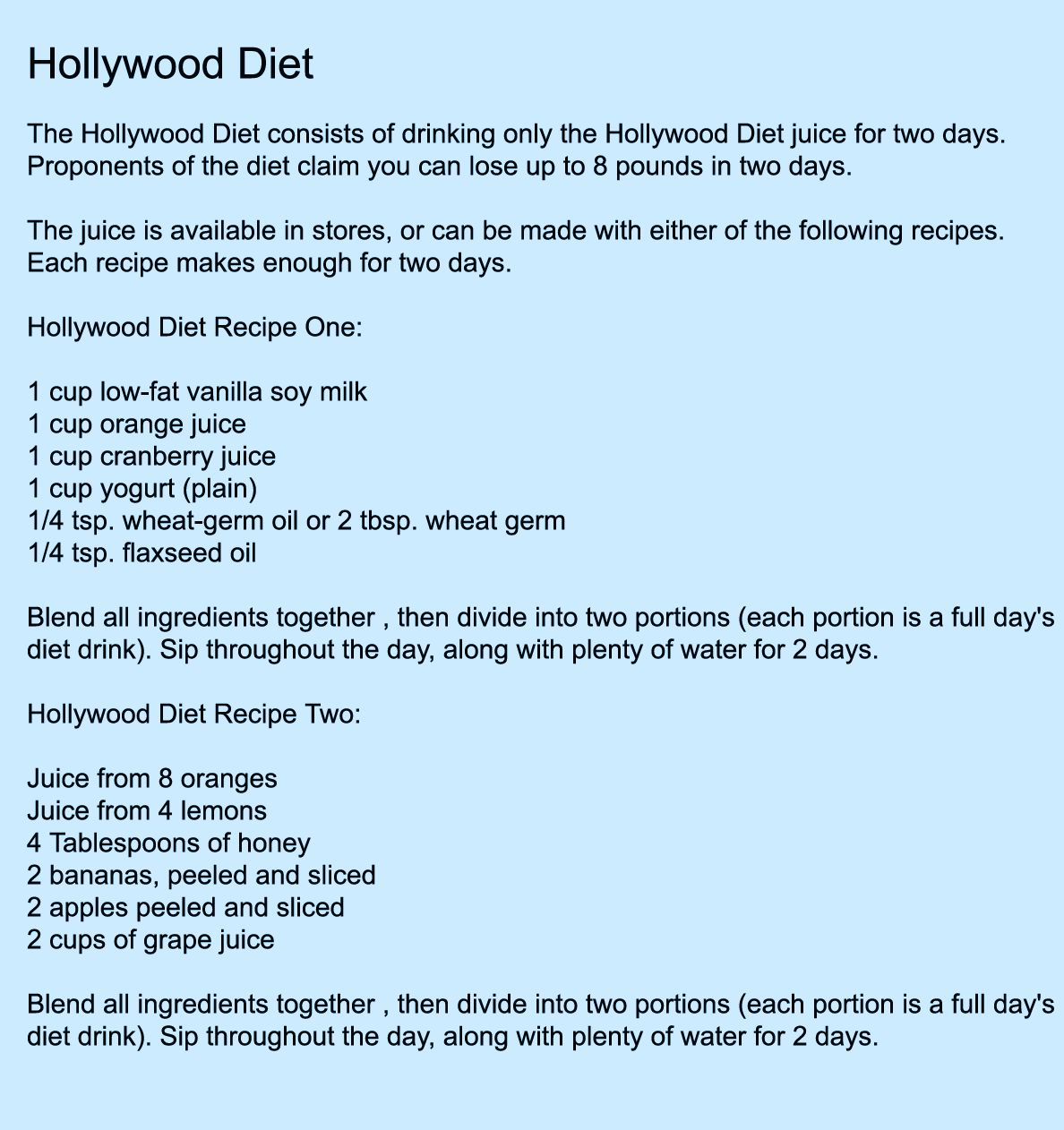 48 hour hollywood diet vs fast