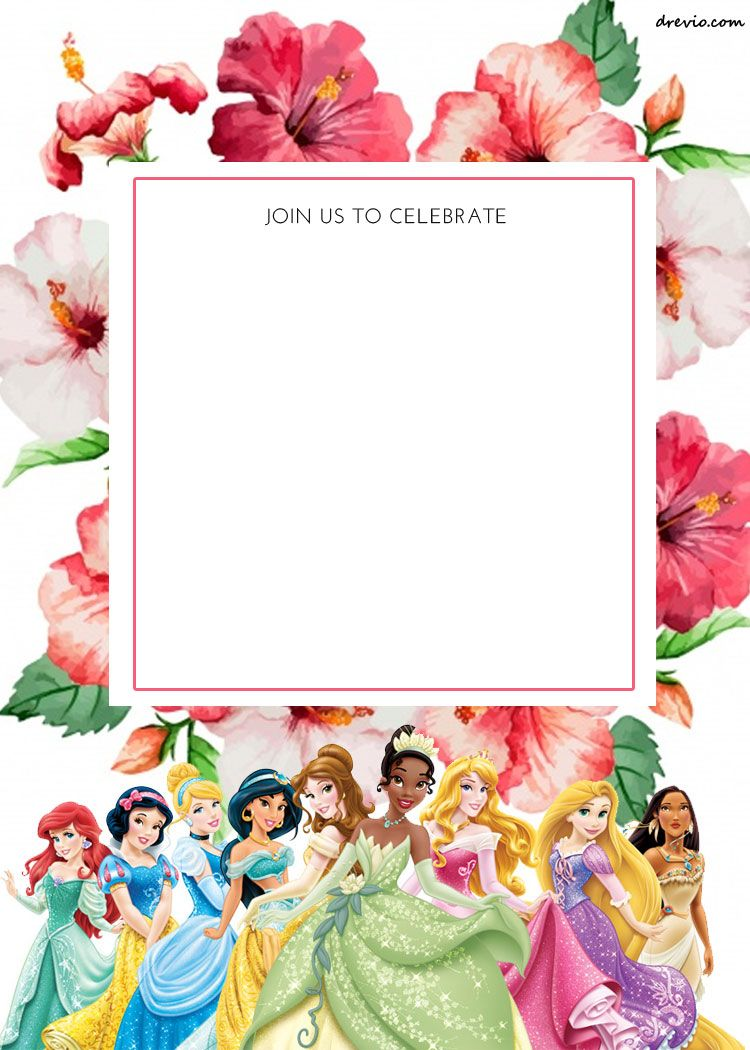 free printable disney princess floral invitation template free