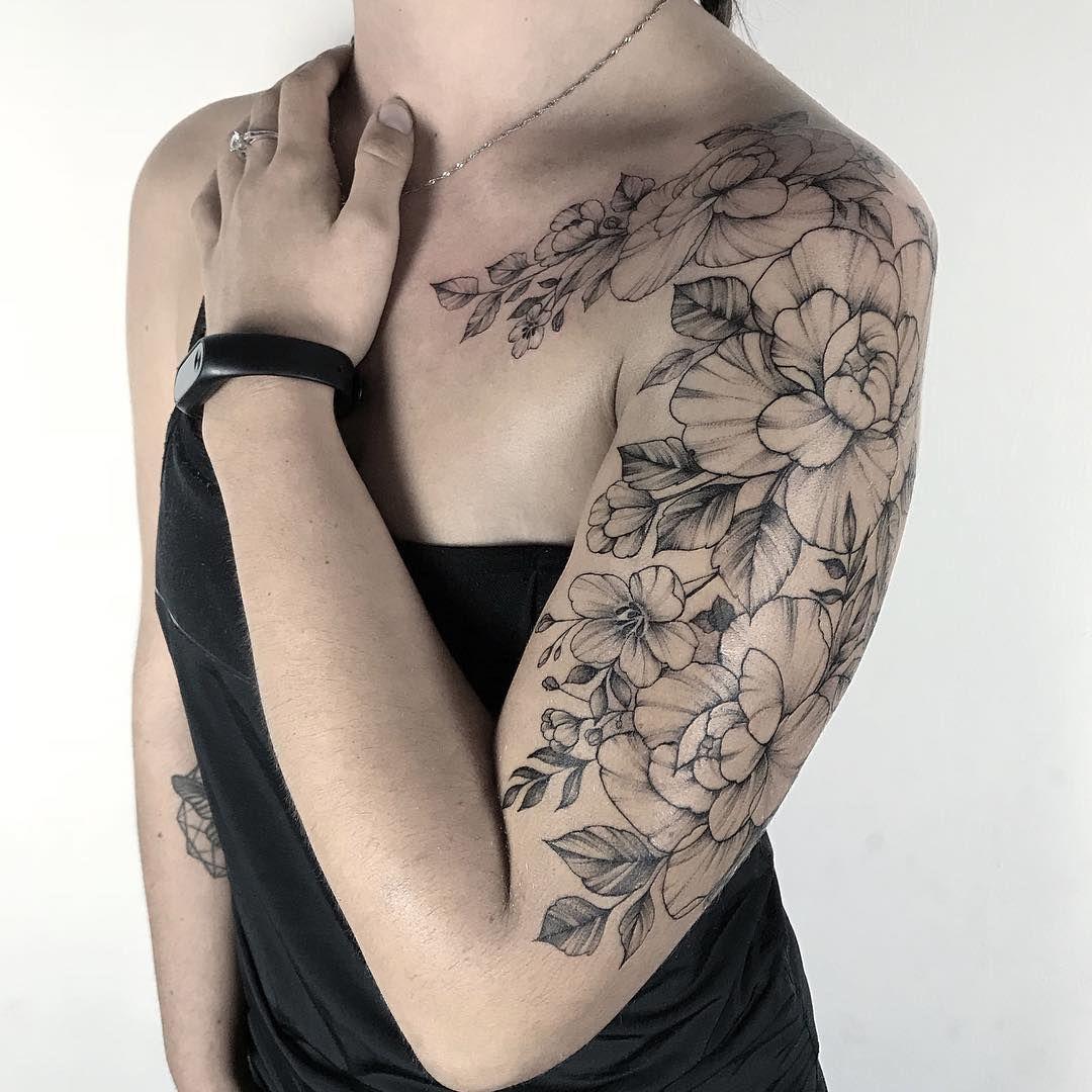 Light Tattoos By Yarina Tereshchenko In 2020 Sleeve Tattoos For Women Tattoos For Women Flowers Floral Tattoo Sleeve