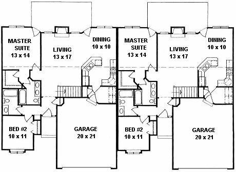 Plan 2208 Duplex Ranch First Floor Plan Duplex House Plans Duplex Floor Plans House Plans