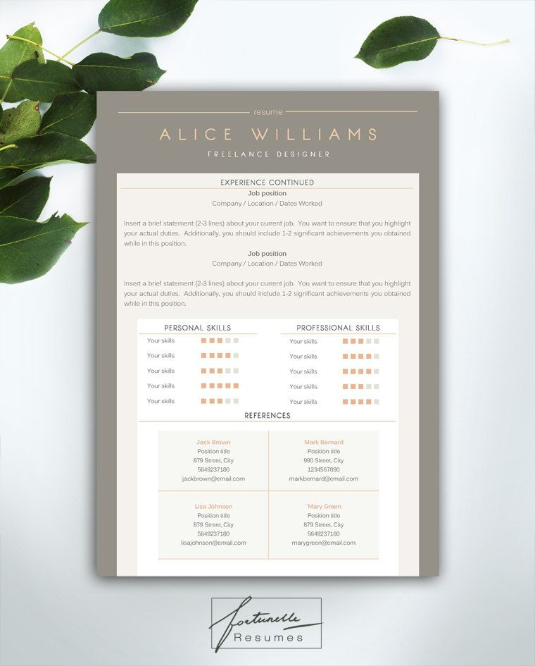 Resume Template 3 page \/ CV Template Cover par FortunelleResumes - resume template with picture insert