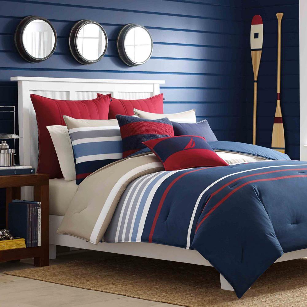 Nautica Bradford 2 Piece Multicolored Navy Twin Comforter Set