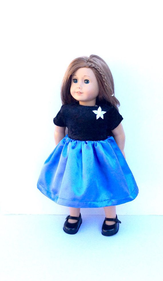 Blue and Black Doll Dress for 18 Inch Dolls Party by DonnaDesigned