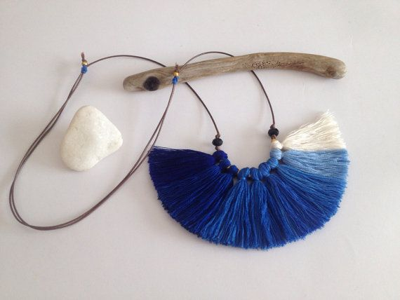 BlueCobalt royal Blue Ombre Fiber tassel necklace by NinaPaco, €25.00