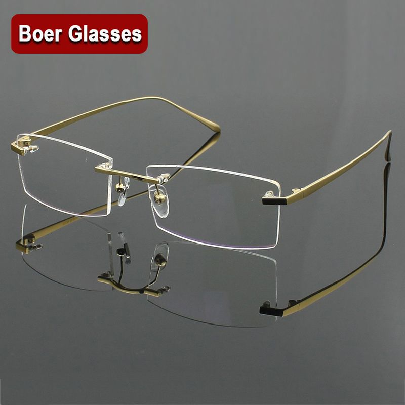 117a2f30d5 100% Pure titanium Men s eyeglasses frame optical glasses RXable Rimless  glasses light weight 4 colors YASHILU 117