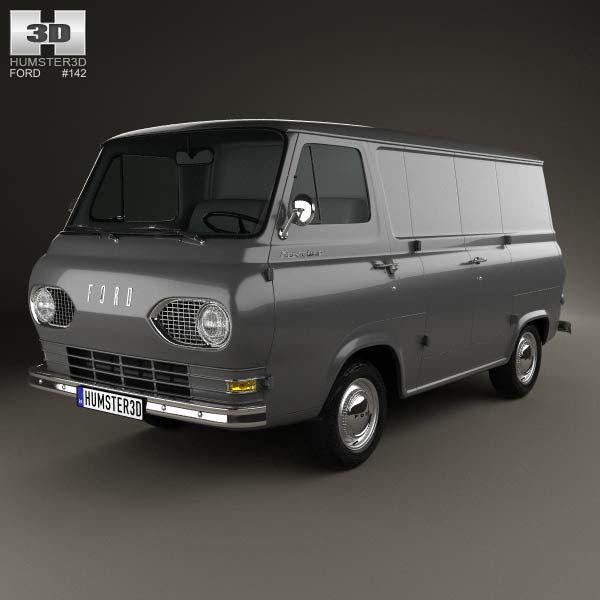 3d Model Of Ford E Series Econoline Panel Van 1961 Cool Vans