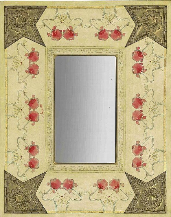 CARLO BUGATTI (1856-1940) WALL MIRROR, CIRCA 1902, hand-painted vellum with gilt highlights, brass mounts, mirror glass, 18 in. (46 cm.) high; 22¾ in. (58 cm.) wide, hand-painted signature Bugatti on front (Image has been rotated vertically for Pinterest.)