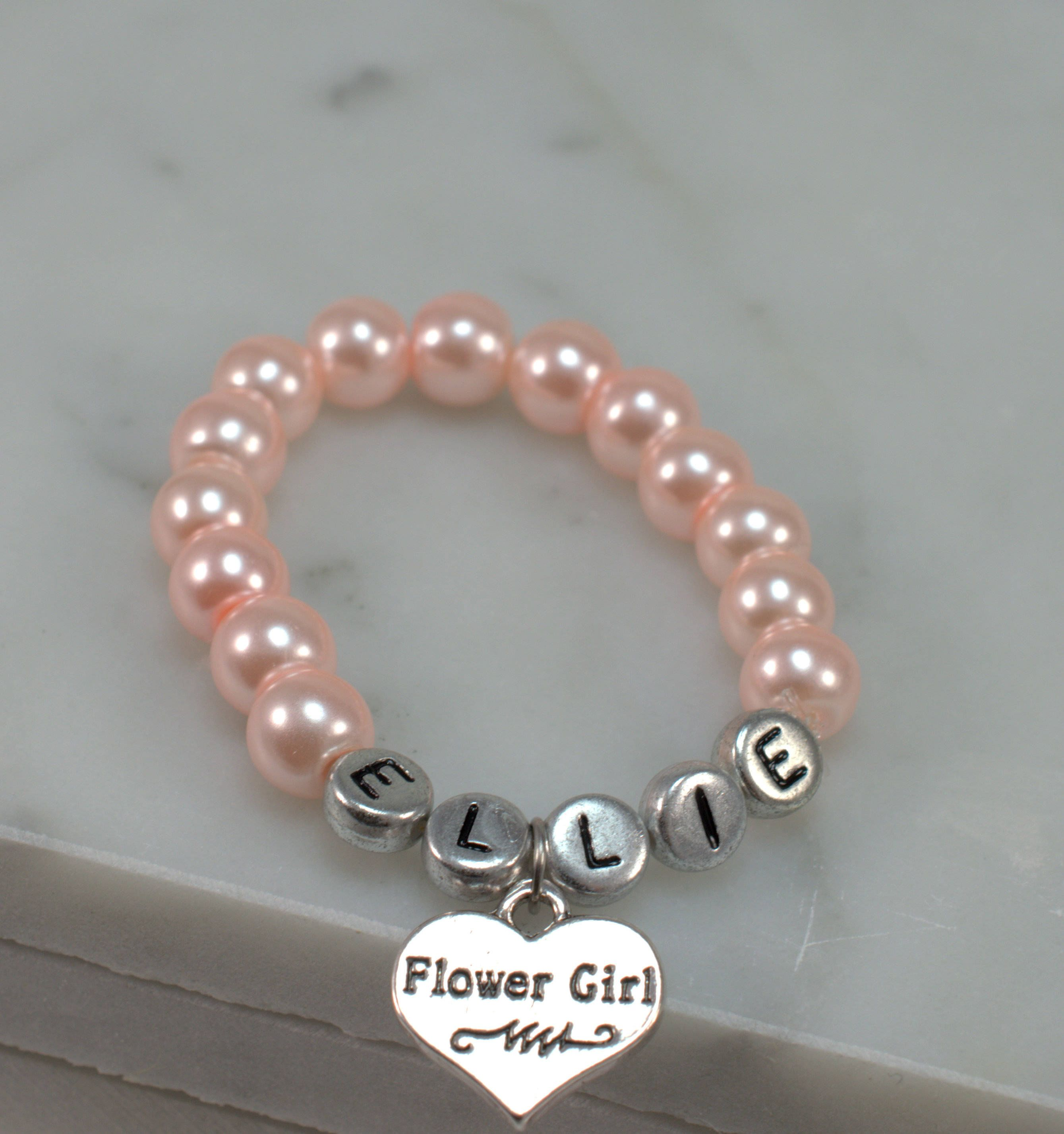 girl kitty pearl charm flowergirl bracelet pin with white girls friendship flower hello personalised heart gift