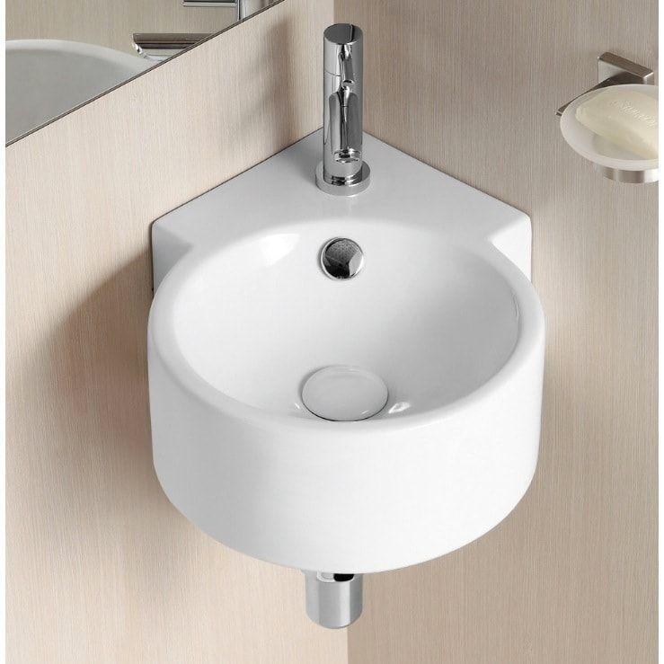Caracalla By Nameeks Ca4296 White Ceramic 1 Hole Round Wall Mounted Corner Bathr Wall Mounted Bathroom Sinks Corner Sink Bathroom Kitchen Sink Design