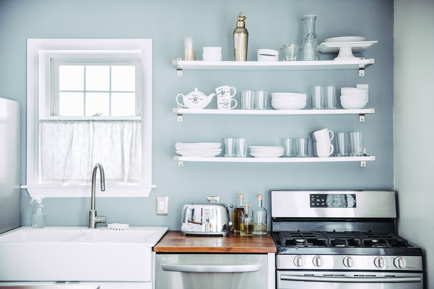 Open Shelving In A Charming Red House In Vermont | Pantry + Kitchen ...