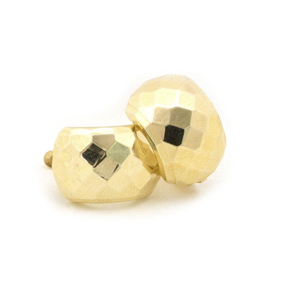 14k Yellow Gold 10mm Large Diamond Cut Huggie Earrings
