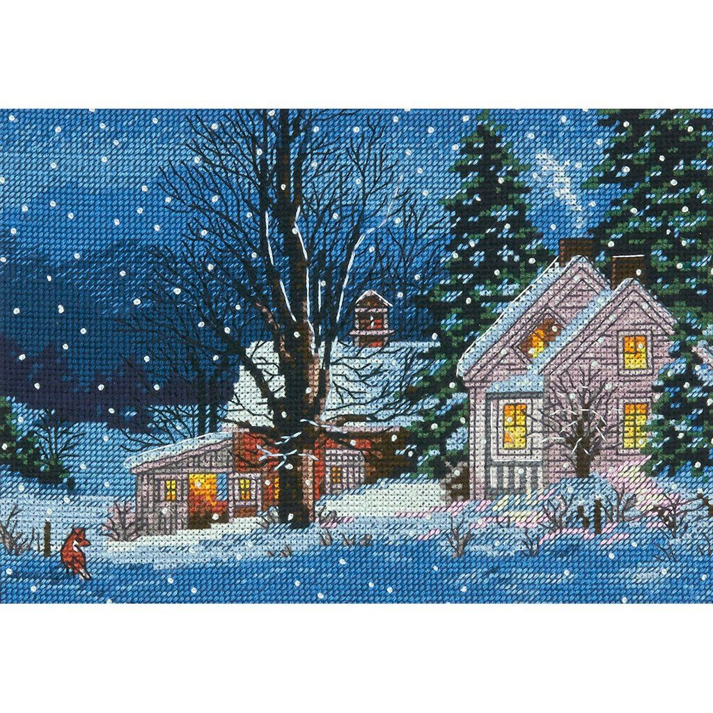 "Gold Petite Quiet Night Counted Cross Stitch Kit-7""""X5"""" 18 Count"