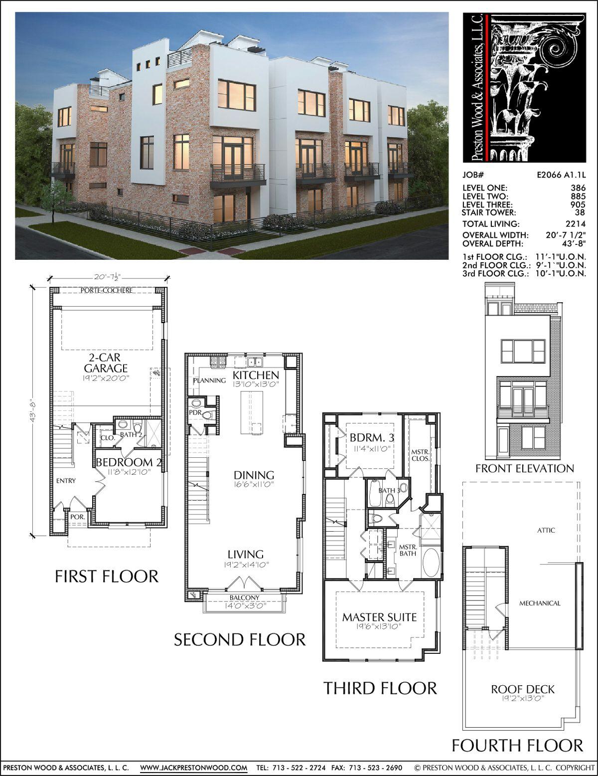 3 1 2 Story Townhouse Plan E2066 A1 1 Town House Floor Plan