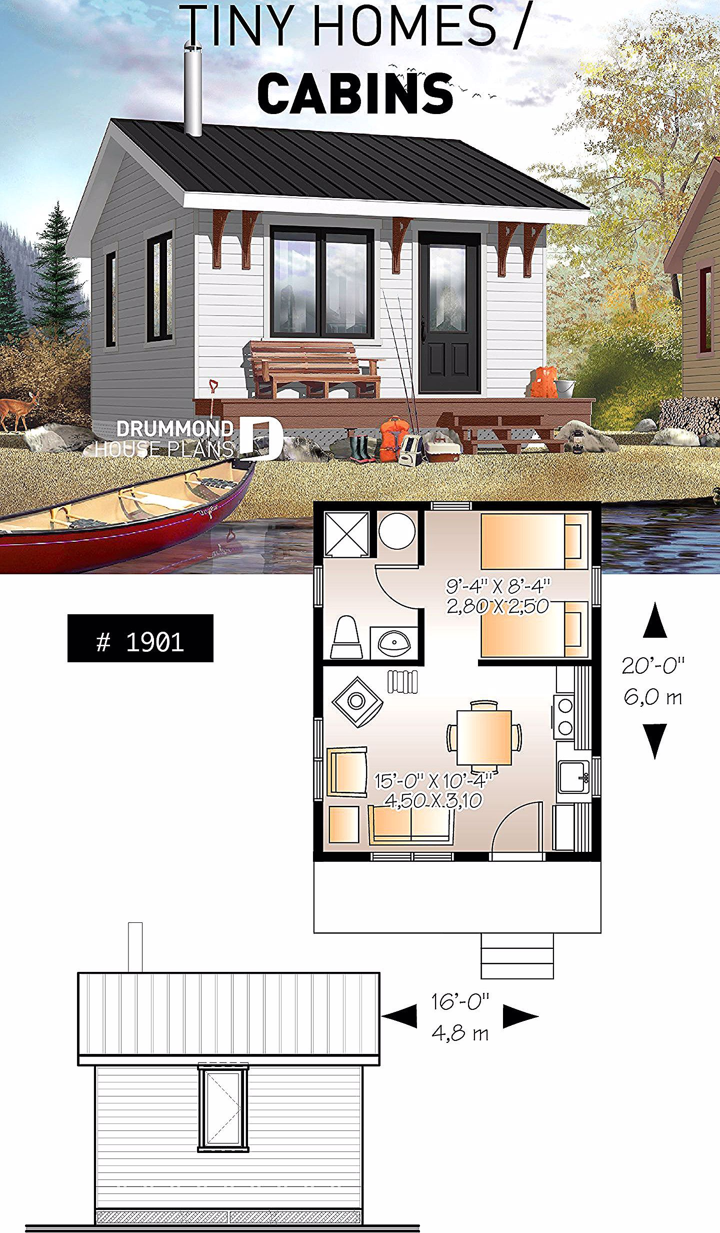 Small 1 Bedroom Cabin Plan 1 Shower Room Options For 3 Or 4 Season Included Wood Stove With Images Tiny House Cabin Tiny House Plans Tiny House Floor Plans