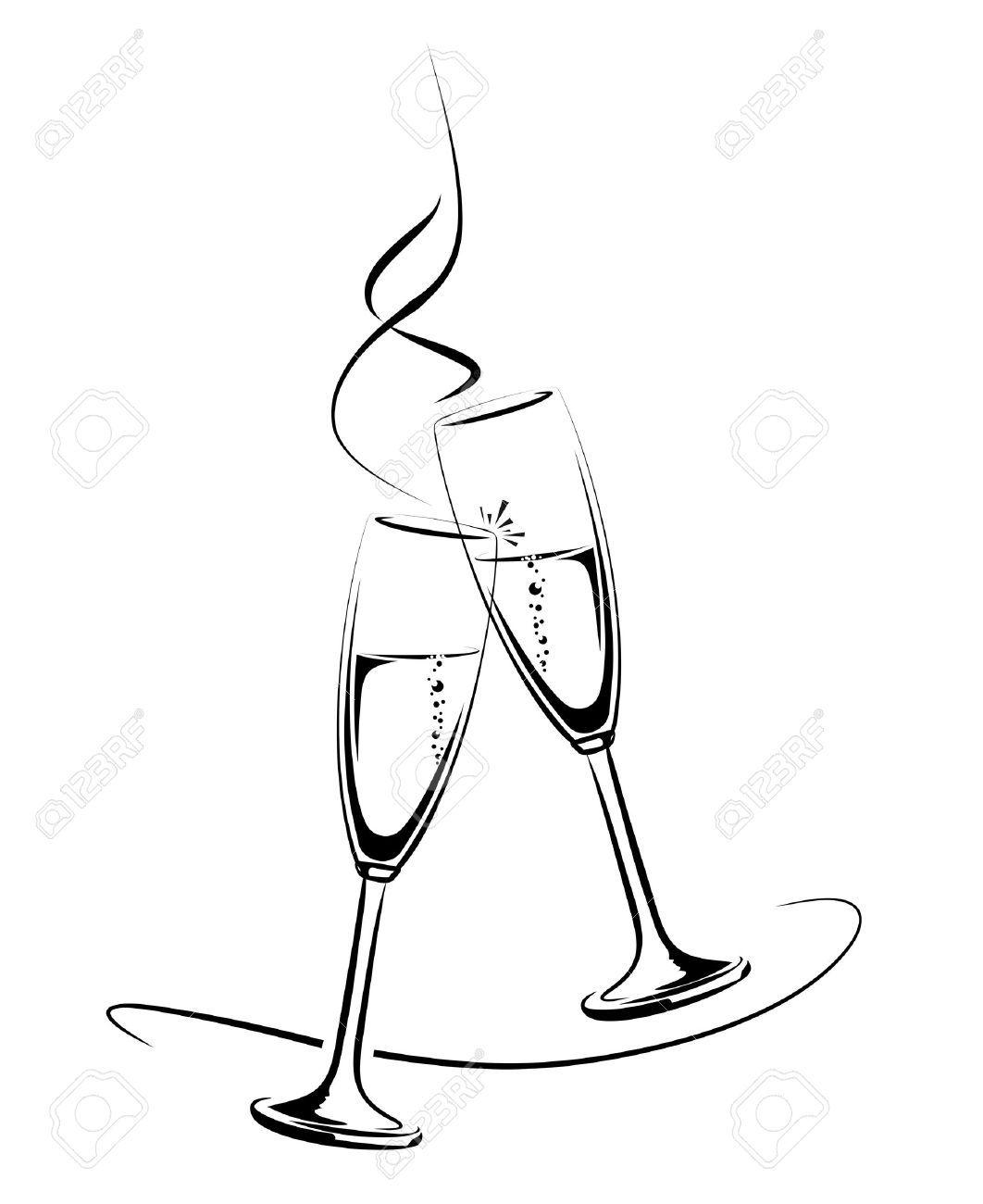 Afbeeldingsresultaat Voor Champagneglazen Tekening Home