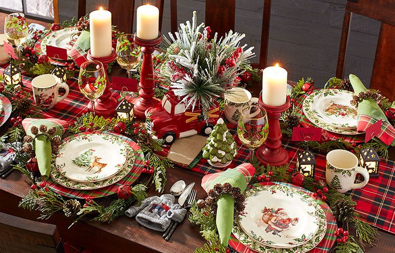 All Spruced Up Plaid Red Green Plaid Christmas Decor Christmas Table Set Up Holiday Tablescapes